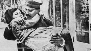 Stalin with his daughter Svetlana in a undated photo