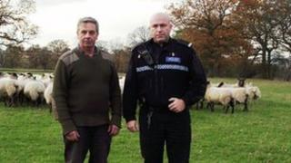 Farmer Robert Goode with PC Andy Timmins. Photo: West Midlands Police