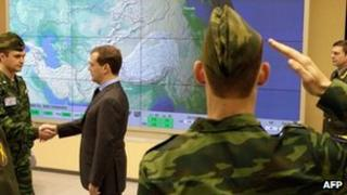 Russian President Dmitry Medvedev visits the new Voronezh-DM radar unit in Kaliningrad, 29 November