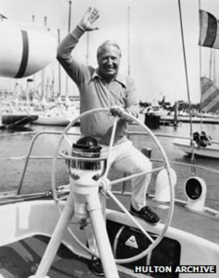 Edward Heath on his yacht in 1975