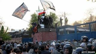 Protesters scale embassy walls. 29 Nov 2011