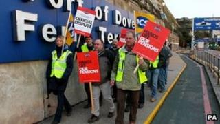 Public sector workers from the PCS Union on a picket line outside the Port of Dover