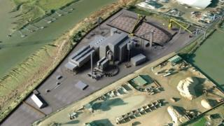 An artist's impression of how the Nevis biomass power station will look
