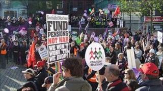 A march and rally in Luton town centre