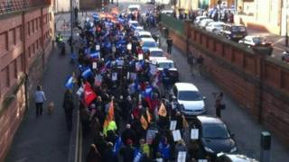 Marchers approaching Broad Street in Birmingham