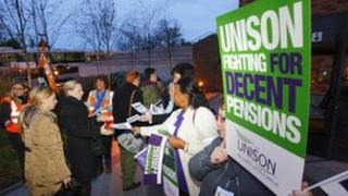 Public sector workers from the GMB, Unite and Unison unions picket outside the Queen Alexandra Hospital in Cosham, near Portsmouth