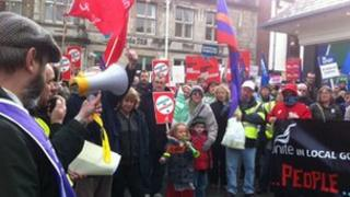 Around 200 joined a protest in Bangor city centre