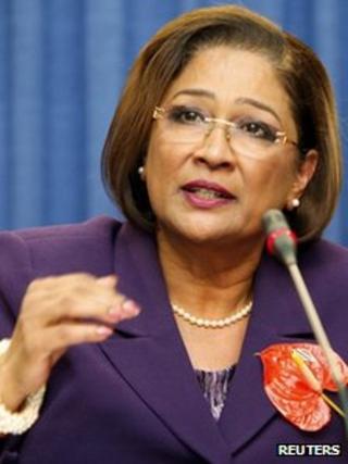 Trinidad Prime Minister Kamla Persad-Bissessar on 24 November