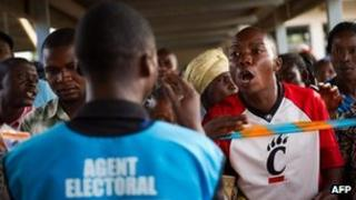 A voter shouts at an election official at the Njanja polling station in Lubumbashi on 29 November 2011