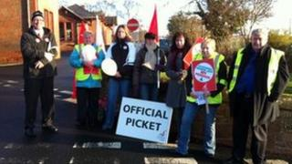 Picket line in the Borders