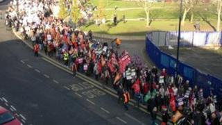 Pensions march in Derby