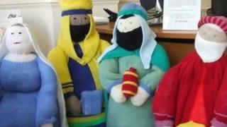 Knitted nativity figures