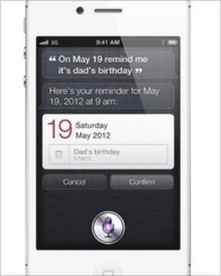 Siri on an iPhone