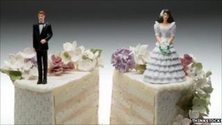 Wedding cake with bride and groom split in two