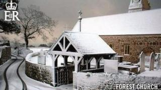Guernsey Christmas Stamp showing Forest Church