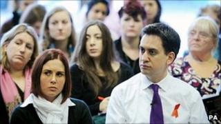 Ed Miliband and an audience of women in east London