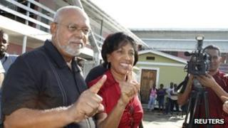 Donald Ramotar and his wife after casting their votes