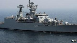 Indian battleship INS Betwa, off Mumbai, Nov 2011