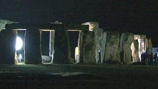 Stonehenge lit up at night for the filming of the BBC series Doctor Who