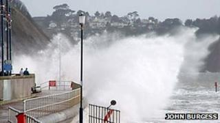 Waves crashing over Teignmouth sea wall, March 2008: Pic John Burgess