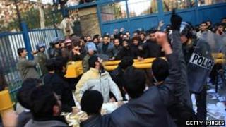 Protesters at the British Embassy in Tehran