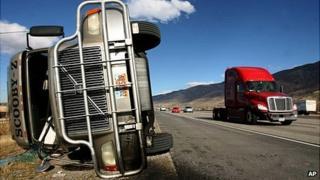 Overturned truck, Utah, 1 December 2011