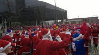 Santa Dash in Liverpool