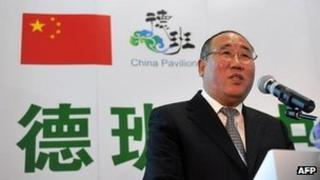 Xie Zhenhua, Head of Chinese delegation speaks during the opening of the China's stand in Durban at the UN Climate Change Conference, 4 December 2011