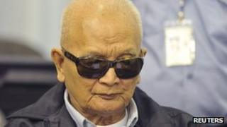 Nuon Chea, in court on 5 December 2011
