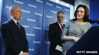 Facebook's chief operating office Sheryl Sandberg at a New York press conference