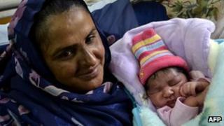 Mukhtar Mai with her newborn baby boy