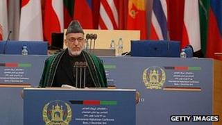 President Hamid Karzai addresses Bonn talks. 5 Dec 2011