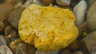 Yellow lump of wax