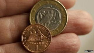 Euro coin and drachma coin