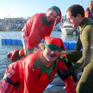 Weymouth and Portland Lions Club Christmas Day swim. Courtesy of Steve Davies.