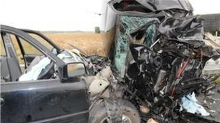 Car collision on the B1222 in August 2010