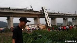 Site of the bullet train crash in Wenzhou, China, 24 July 2011