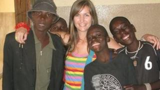 Heidi Munson with Ugandan orphans