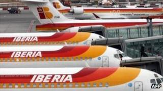 Iberia planes at an airport