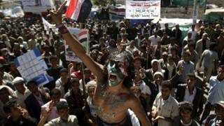 A protester in Sanaa demands the prosecution of Ali Abdullah Saleh (6 December 2011)