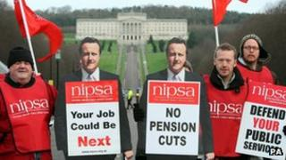 Striking public sector workers outside Stormont on 30 November over pension changes