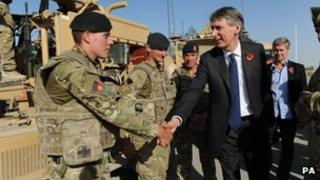 Philip Hammond in Afghanistan last month