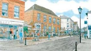 Artist's impression of a regenerated Ipswich Street, Stowmarket