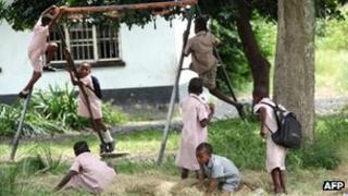 Zimbabwean schoolchildren Pic: AFP