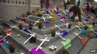 Crosses laid by the Movement for Peace with Justice and Dignity in memory of victims of violence in Mexico