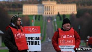 Members of the NIPSA union on strike at Stormont over changes to their pensions
