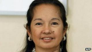 Former Philippine president Gloria Arroyo inside her suite at an exclusive Manila hospital on 9 December 2011