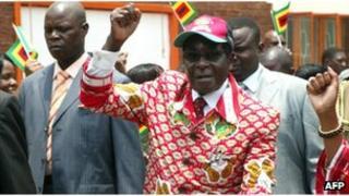 Robert Mugabe arrives at Zanu-PF's conference in Bulawayo, on December 8, 2011