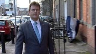 Jeffrey Donaldson arrives at the Smithwick Tribunal