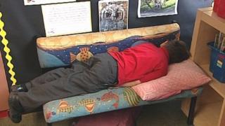 Josh Hadfield asleep at school